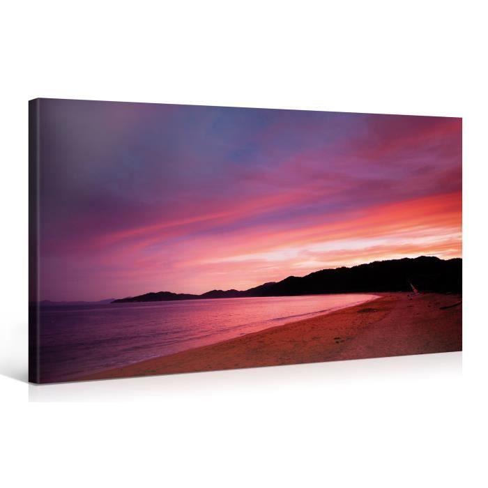 Tableau sur toile plage lila 100x50cm achat vente for Tableau impression sur toile