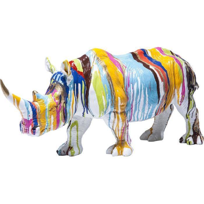 statuette d co rhinoceros couleur cm achat vente statue statuette cdiscount. Black Bedroom Furniture Sets. Home Design Ideas