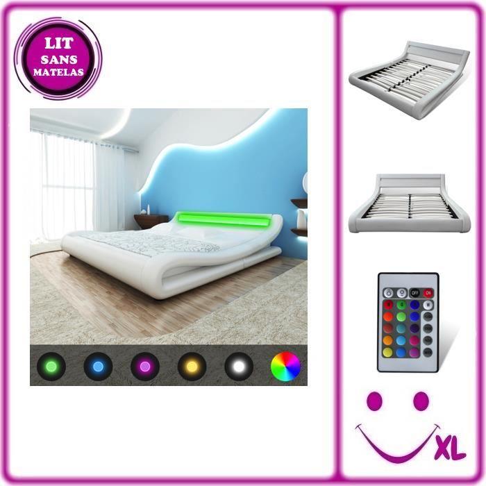 Lit en similicuir avec t te de lit led 140 cm blanc achat vente lit compl - Tete de lit eclairage led ...