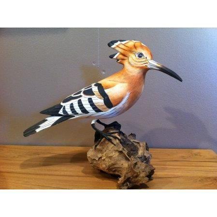 oiseau des jardins en bois sculpt et peint la main huppe achat vente objet d coratif bois. Black Bedroom Furniture Sets. Home Design Ideas