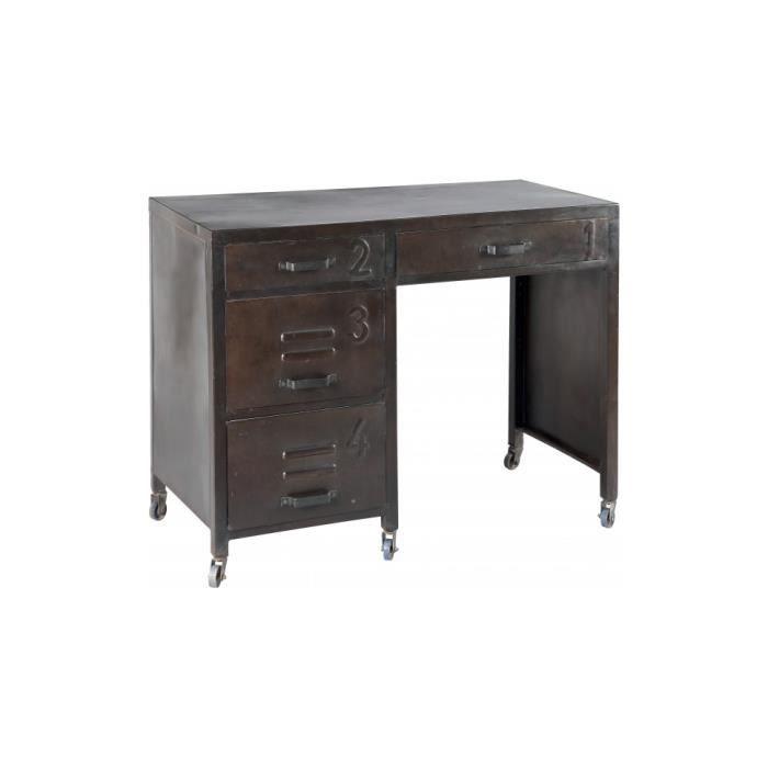 Bureau acier peinture vieillie 4 tiroirs roulettes achat for Meuble bureau verre acier