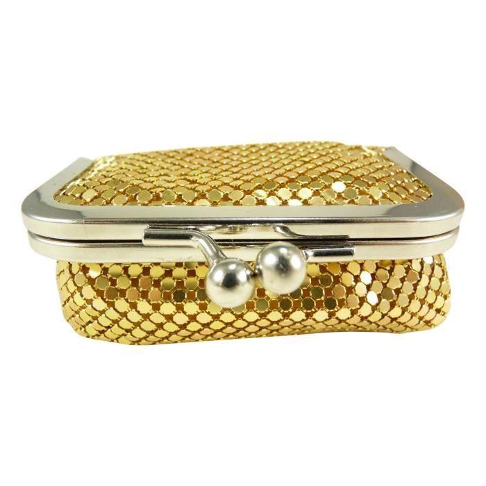 Porte monnaie bourse femme fermoir clic clac strass miroir de poche dor - Clic clac petite taille ...