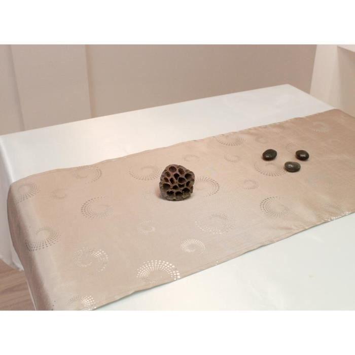 chemin de table spirales taupe achat vente chemin et set de table cdiscount. Black Bedroom Furniture Sets. Home Design Ideas