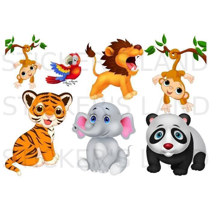 Stickers d coratifs animaux de la jungle d couper - Animaux de la jungle maternelle ...
