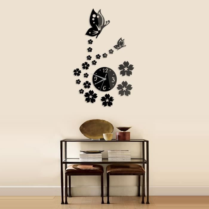 Sticker muraux miroir horloge jolie diy pour salon chambre for Horloge design pour salon