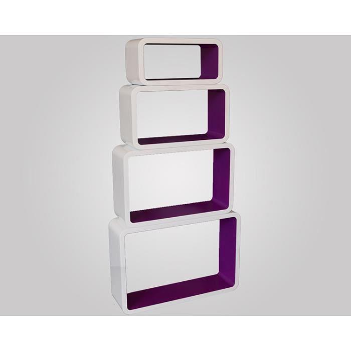 Tag res cube murale de 4 pi ces coloris violet achat vente etag re mural - Etagere murale cdiscount ...