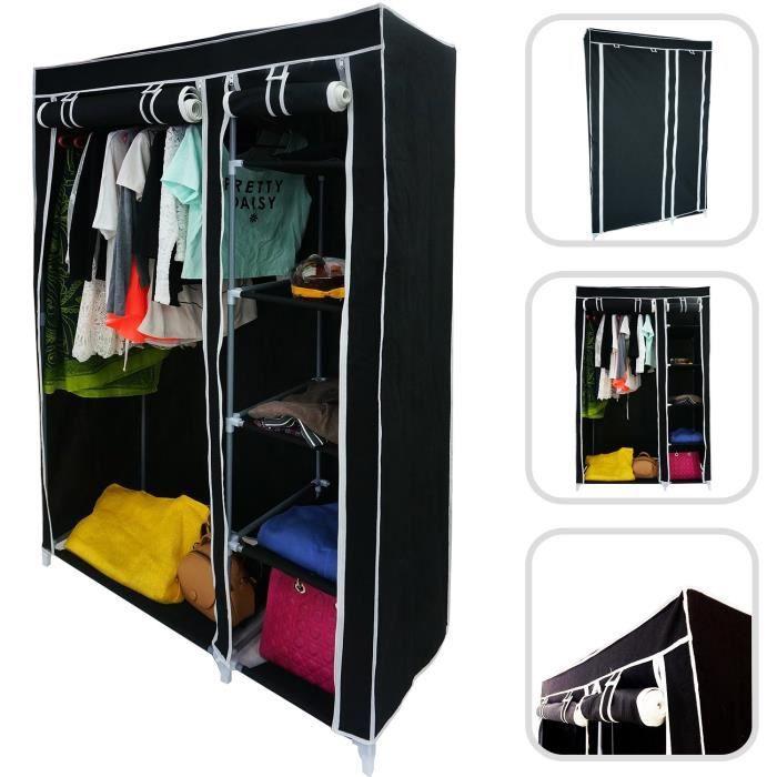 armoire penderie noire en tissu achat vente penderie mobile armoire penderie noire cdiscount. Black Bedroom Furniture Sets. Home Design Ideas