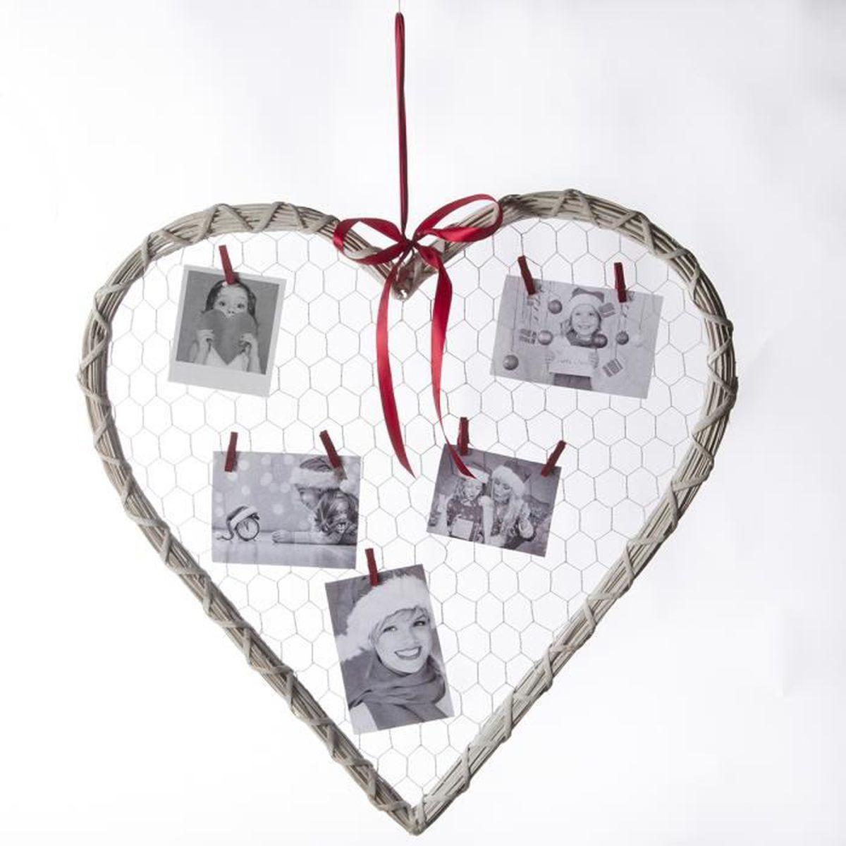 P le m le coeur en bois et fil de fer avec 8 pinces et - Coeur avec des photos ...