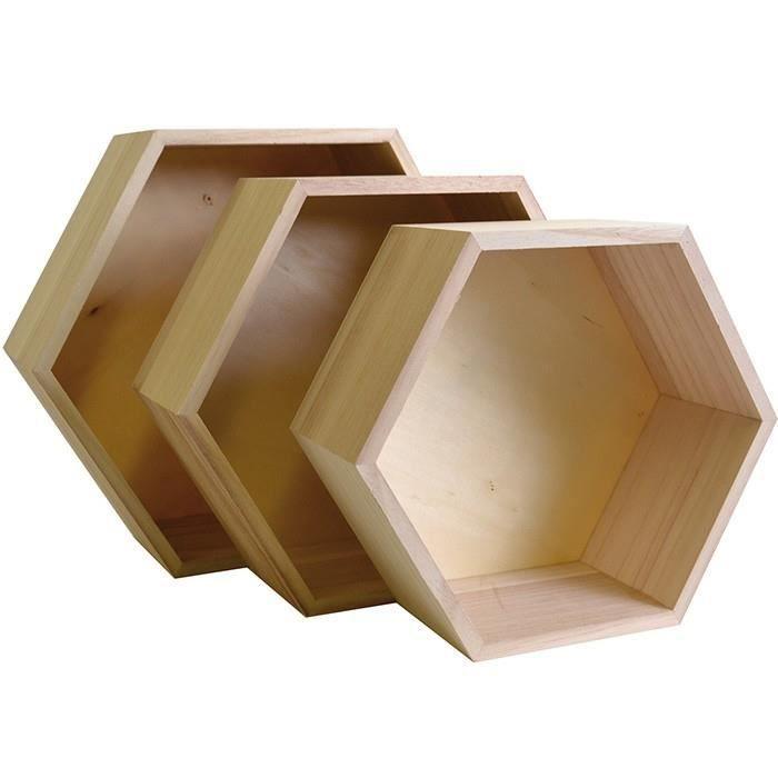 ensemble de 3 tag res hexagone en bois achat vente tiroir coulissant 3 tag res hexagone en. Black Bedroom Furniture Sets. Home Design Ideas