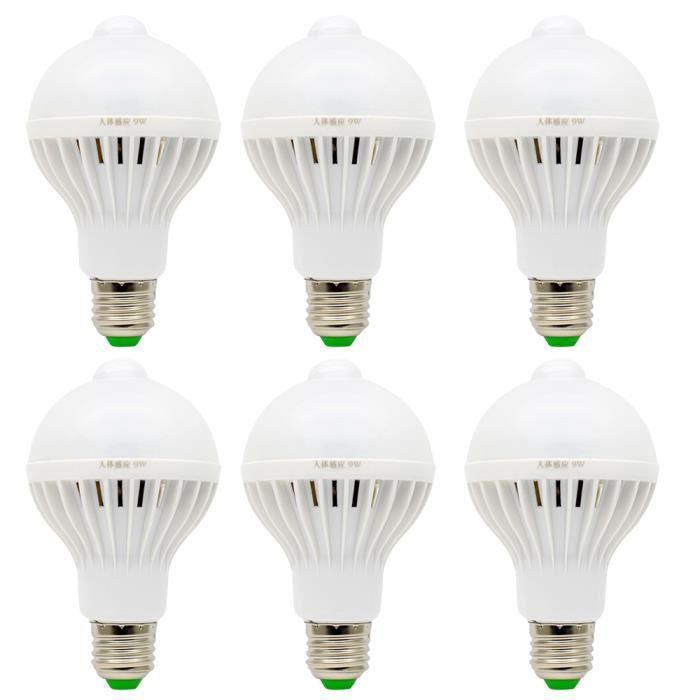 6x e27 ampoule detecteur 9w led detecteur de mouvement 20 smd 5730leds blanc chaud 3000k. Black Bedroom Furniture Sets. Home Design Ideas