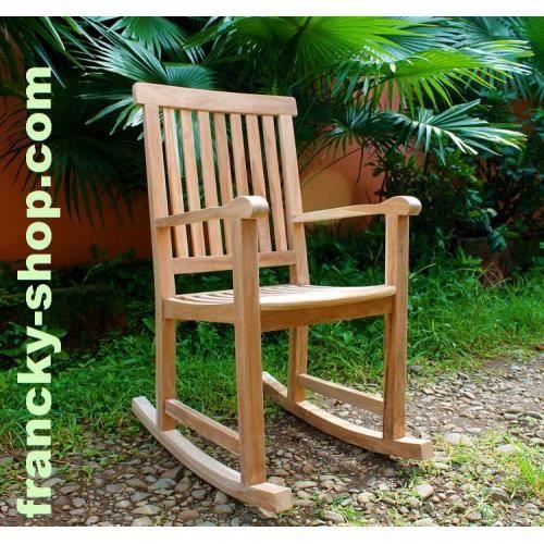rocking chair fauteuil bascule en bois de teck achat. Black Bedroom Furniture Sets. Home Design Ideas