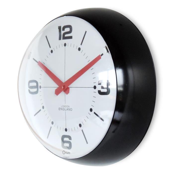 Bulle horloge murale 25cm piles noire achat vente for Horloge murale 3 cadrans