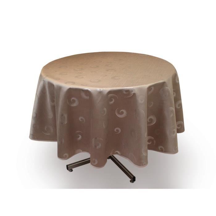 Soleil d 39 ocre nappe de table ronde spirales 180 cm taupe - Nappe de table ronde ...