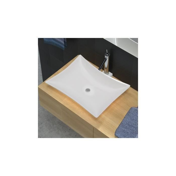 Vasque de salle de bains c ramique blanc haute brillance - Vasque ceramique salle de bain ...