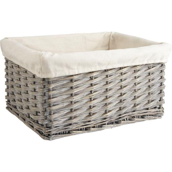 corbeille de rangement en osier gris et coton 3 achat. Black Bedroom Furniture Sets. Home Design Ideas