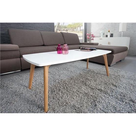Table basse en bois scanya blanc achat vente table for Table basse en bois