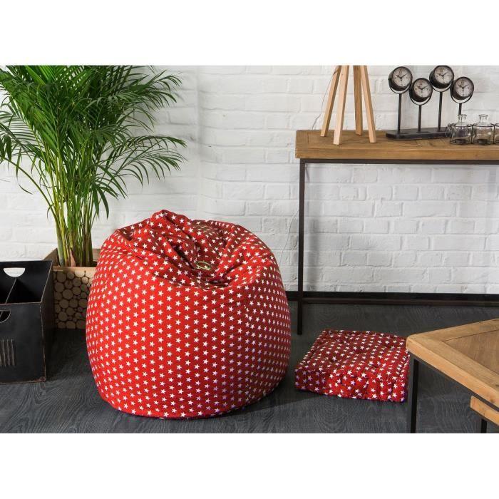 fun poire pouf 100 coton 79x100 cm rouge toiles achat. Black Bedroom Furniture Sets. Home Design Ideas