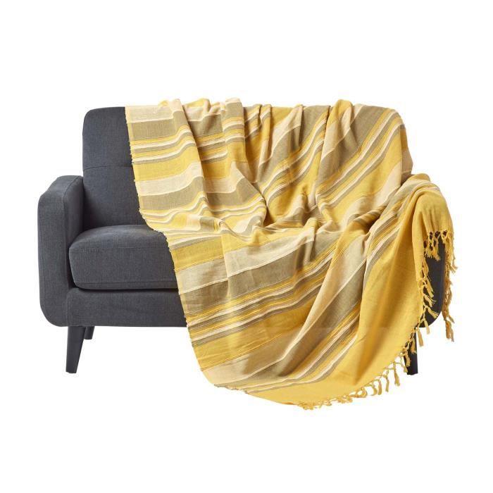 Jet de lit ou de canap morocco rayures jaune 150 x for Jete de canape gris
