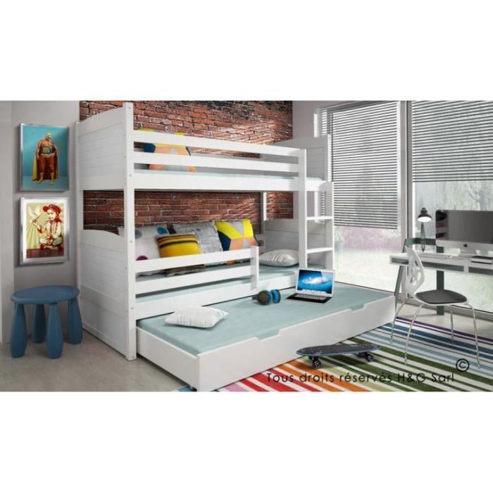 lit enfant superpose avec tiroir sasha en bois blanc blanc achat vente lits superpos s lit. Black Bedroom Furniture Sets. Home Design Ideas