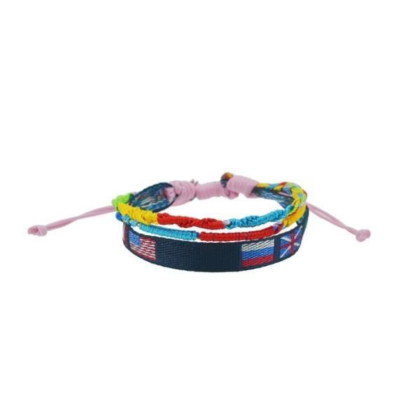 bracelet homme en tissu 3 rangs avec drapeaux achat vente bracelet gourmette bracelet. Black Bedroom Furniture Sets. Home Design Ideas