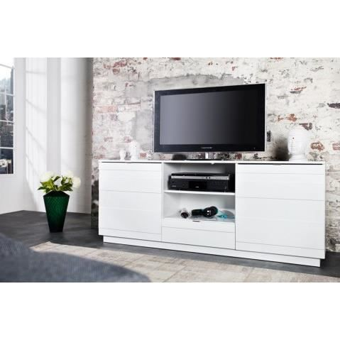 Meuble tv design blanc laque 2 portes 1 tiroirs relief 165 for Meuble 4 portes laque blanc ikea