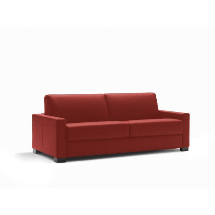 Canap convertible lit milano cuir recycl rouge achat for Canape convertible cuir rouge