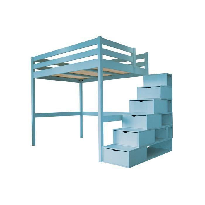 Lit mezzanine sylvia avec escalier cube bois achat vente lit mezzanine li - Escalier en bois occasion ...