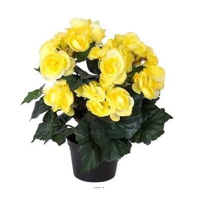 begonia artificiel jaune en pot h 28 cm superbe achat vente fleur artificielle cdiscount. Black Bedroom Furniture Sets. Home Design Ideas