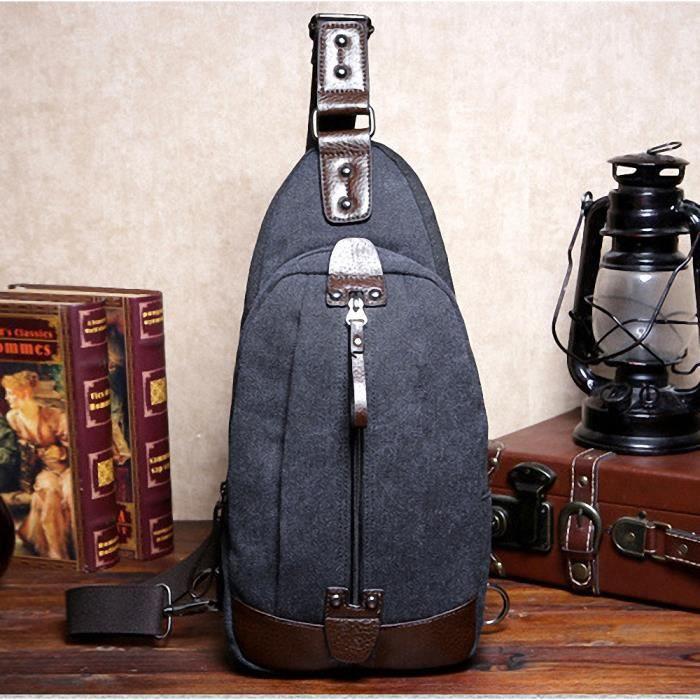 bestool homme sac bandouli re en toile de coton paisse de la poitrine paule durable sling. Black Bedroom Furniture Sets. Home Design Ideas
