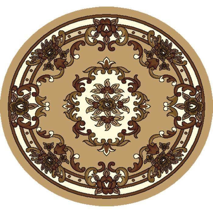 tapis de salon rond 160 4741 beige marron achat. Black Bedroom Furniture Sets. Home Design Ideas