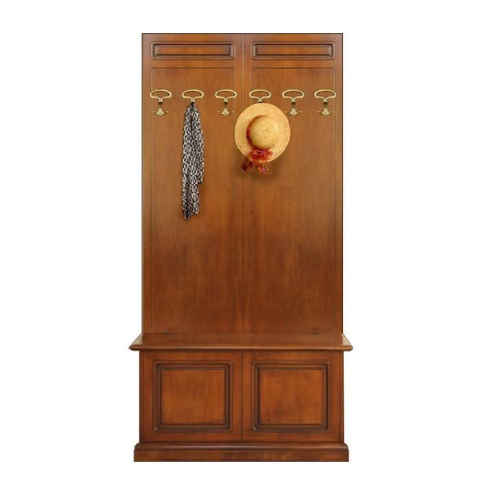 Vestiaire avec coffre de rangement en bois achat vente for Vestiaire pour entree maison