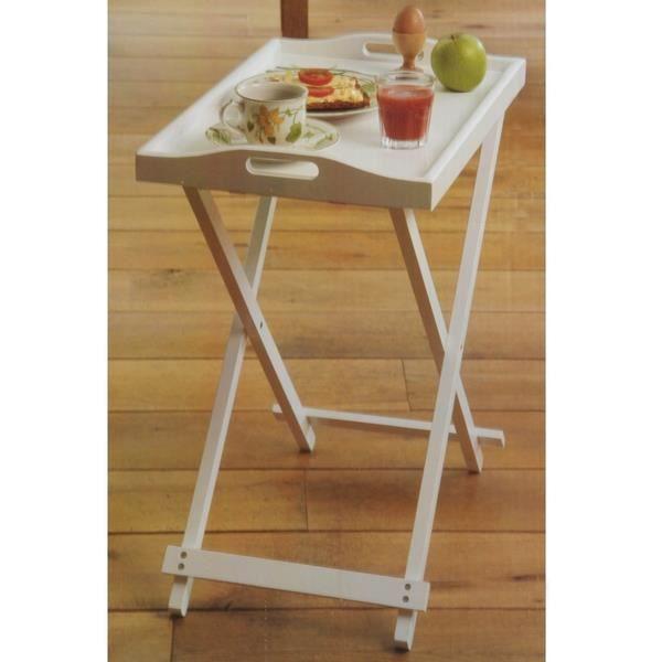 Plateau en bois sur tr pied pliant blanc achat vente for Plateau en bois pour table