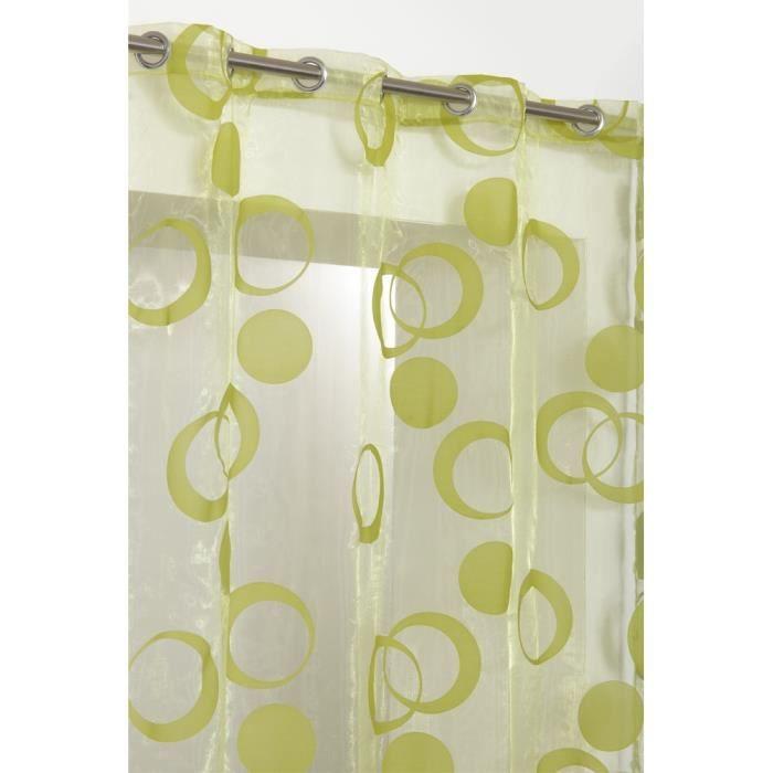rideau voilage motif cercles 140x240 cm vert achat vente rideau cdiscount. Black Bedroom Furniture Sets. Home Design Ideas