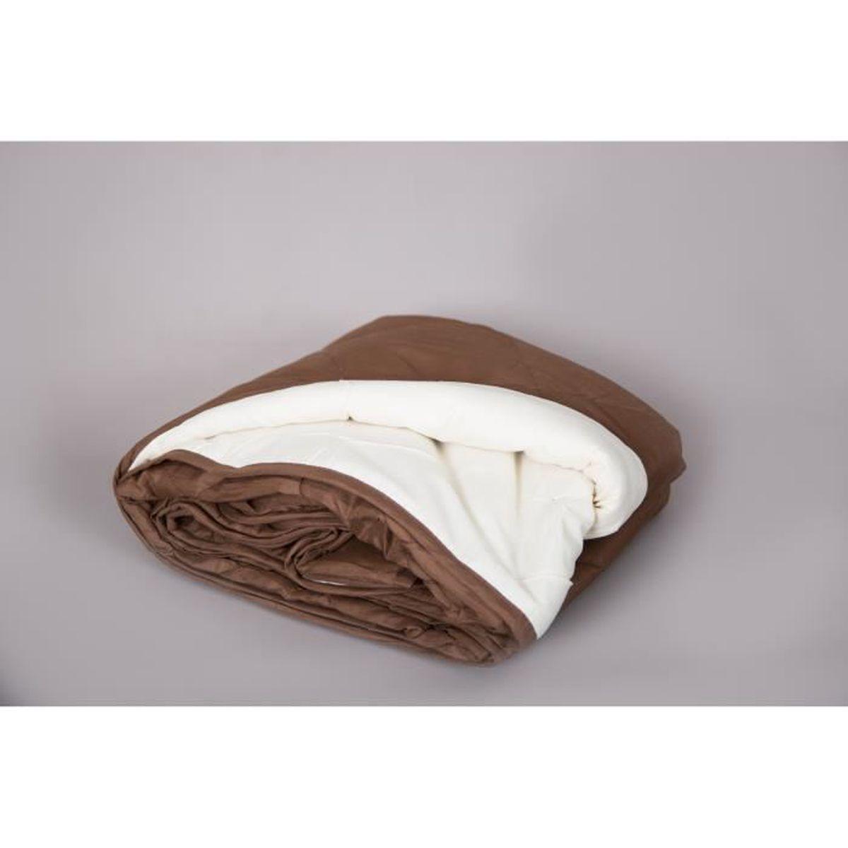 Couette de lit ete 140 200 250g chocolat et beige achat vente couette s - Linge de lit chocolat ...