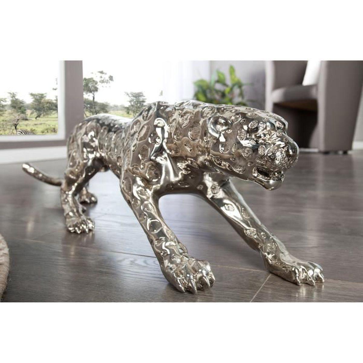 sculpture d corative design leopard argent achat vente