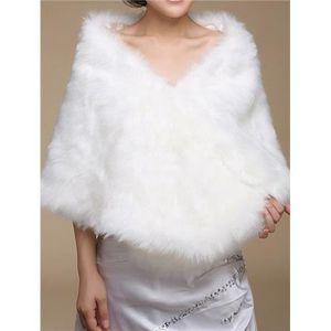 echarpe foulard bolro longues en fausse fourrure pour mariage - Etole Beige Mariage