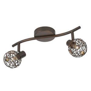 barre double spots orientables en m tal et verre longueur. Black Bedroom Furniture Sets. Home Design Ideas