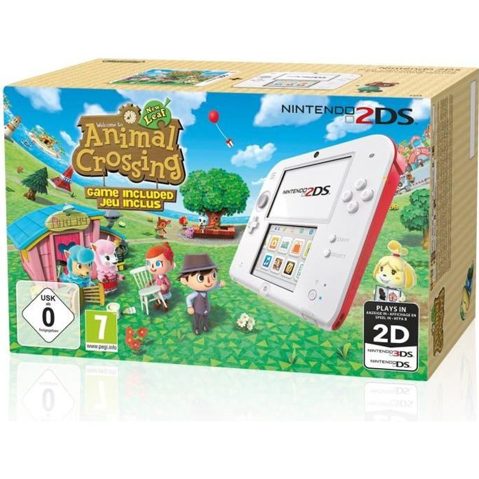 2ds rouge animal crossing new leaf achat vente console 2ds nouveaut 2ds animal crossing. Black Bedroom Furniture Sets. Home Design Ideas