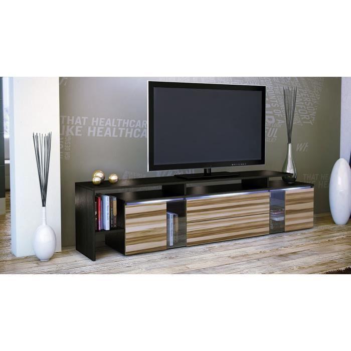 Meuble tv noir bois nervur 187 x 47 x 35 cm achat for Meuble tv noir bois