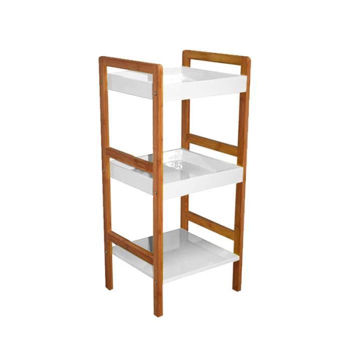 Etag re structure en bambou 3 niveaux boi achat for Etagere salle de bain bambou
