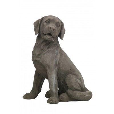 Chien assis en r sine gris achat vente statue for Decoration chien resine