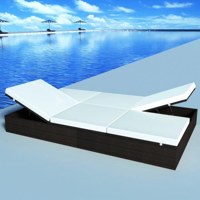 Chaise longue bain de soleil 2 personnes en rotin for Chaise pour piscine