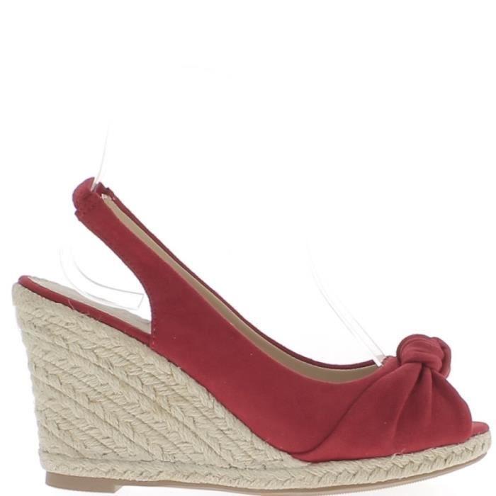 SANDALE - NU-PIEDS Espadrilles sandales femme compensées rouges à tal