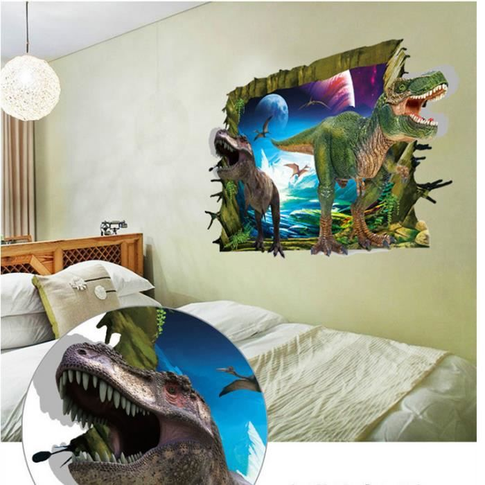 3d ou chambre coucher mur stickers jurassic park for Chambre a coucher soldes