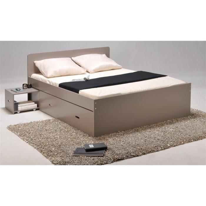 lit xenia 140x190 2 chevets 2 tiroirs gris achat vente lit complet lit xenia 140x190 2. Black Bedroom Furniture Sets. Home Design Ideas