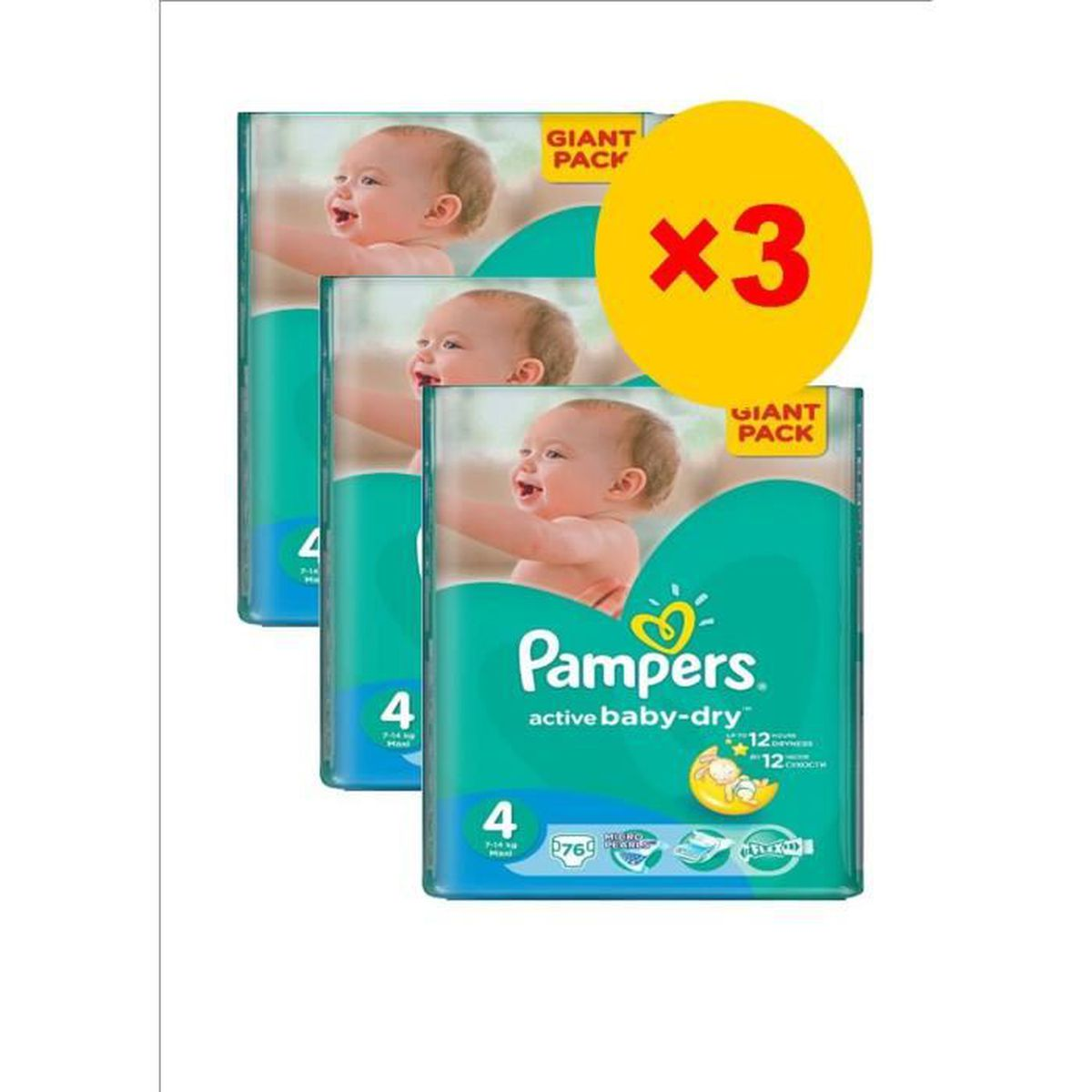 pampers baby dry taille 4 7 14kg pack 228 couches. Black Bedroom Furniture Sets. Home Design Ideas