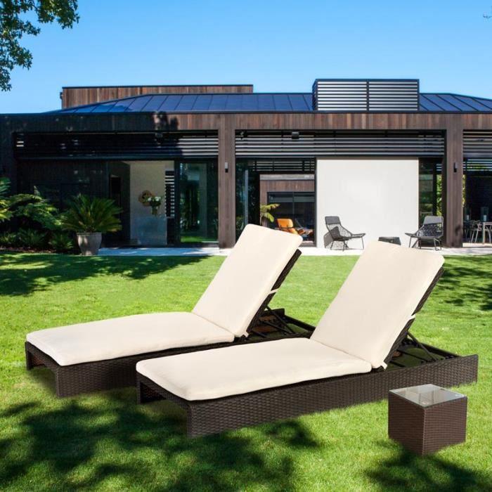 2 chaises longues bains de soleil lits de piscine jardin for Chaises longues de piscine