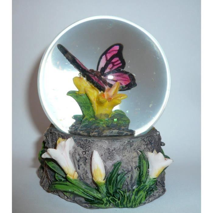 boule de neige figurine papillon rose achat vente statue statuette cdiscount. Black Bedroom Furniture Sets. Home Design Ideas