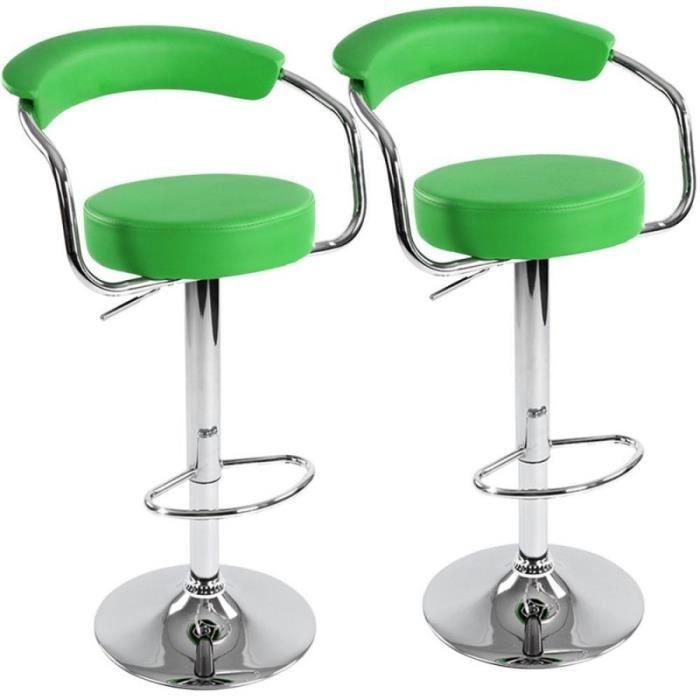 Lot de 2 tabourets de bar vert design moderne 1201035 achat vente taboure - Tabouret de bar vert ...