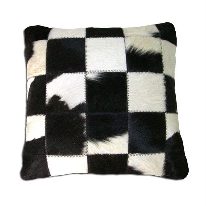 coussin patchwork en peau de vache noire blanche achat vente coussin cdiscount. Black Bedroom Furniture Sets. Home Design Ideas